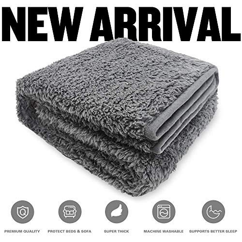 Allisandro Flauschige Hundedecke【160x100cm Anthrazit】 Katzen Decke mit super softe weiche zweiseitige Material Haustier-Decke, perfekt für Hundebett Sofa und Couch -