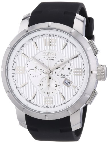 Esprit Collection Ourea Men's Quartz Watch with Silver Dial Chronograph Display and Black PU Strap EL101921F01