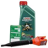 1 L Liter Castrol Magnatec Diesel 5W-40 DPF Motor-Öl inkl. Ölwechsel-Anhänger und Einfülltrichter