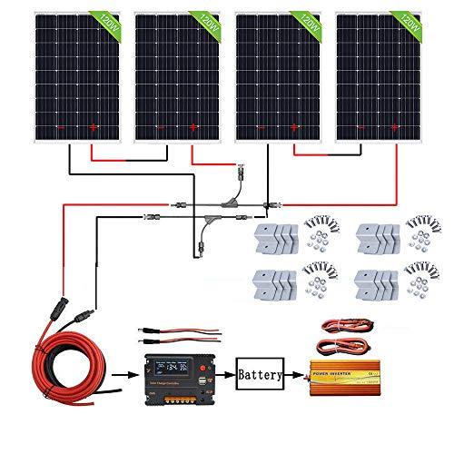 ECO-WORTHY 480W Off-Grid-Solarmodul-Kit: 1500W 220V Wechselrichter für reine Sinuswellen + 4 PCS 120W Solarpanel + 20A Batterieladeregler für Home Boot RV