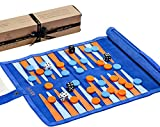 Jaques of London Backgammon Set - Royal Racing Blue - Traditional Tan Design - Luxury Genuine Leather Backgammon Set - Travel Backgammon Set Inc. Gift Packing Quality Games Since 1795