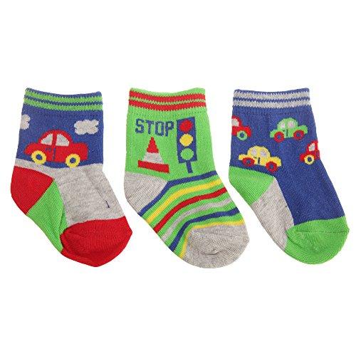 Baby Jungen Automobile Muster Socken (3 Paar) (19-22 EU) (Rot/Grau/Grün)