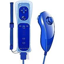 Pekyok DW15 Wii RemotePlus, Nintendo Wiimote Plus y Nunchuk Wii MotionPlus Motor de vibración Controlador de Juegos Bluetooth con Correa de muñeca para Wii y Wii U-Azul Oscuro