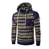 Kanpola Herren Kapuzenpullover Herbst Winter Urlaub Druck Langarm Hoodie Sweatshirt Pullover (Blau, 46)