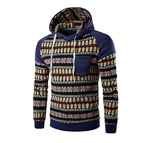 Kanpola Herren Kapuzenpullover Herbst Winter Urlaub Druck Langarm Hoodie Sweatshirt Pullover (Blau, 48)
