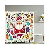 LOUMVE Polyester Comic Weihnachten Elch Anti Schimmel Duschvorhang mit Duschvorhangringe Antibakteriell Wasserdicht Badewanne Duschvorhang 180 x 200 cm