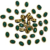 #7: Embroiderymaterial Kundan Stone for Jewellery,Craft,Embroidery Making, Dark Green Color, 100 Pieces