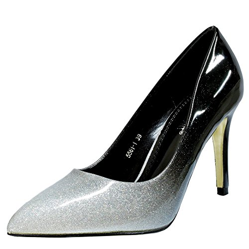 Rock on Styles Damen Zweiton Patent Party Abend Mid High Heel Pumps size-5561-1 - Silbern, 5 UK