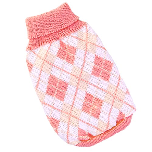 stricken Rollkragen Hund Pullover Kleidung Argyle Patterns rosa