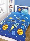 Set de sábanas para niños (algodón), mezcla de algodón, Espacio - azul, amarillo, morado y negro, funda de edredón individual