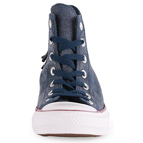 Converse Chuck Taylor All Star Femme Sparkle Wash Tri Zip Hi 382520 Damen Sneaker Marineblau