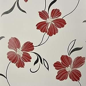 Muriva Bella Red Flowers Leaf Floral Black Cream Wallpaper