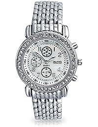 Bling Jewelry Ginebra Cubierta posterior de acero inoxidable redondo reloj Cristal estilo Deco
