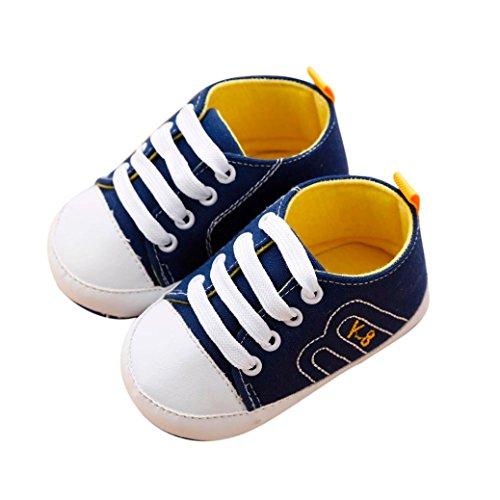 BZLine® Baby Girls Krippe Schuhe Soft Sohle Anti-Slip Sneakers Bandage Schuhe Blau
