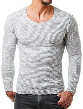 EightyFive Herren Strick-Pullover Feinstrick Schwarz Weiß Anthrazit Grau Beige EF1402