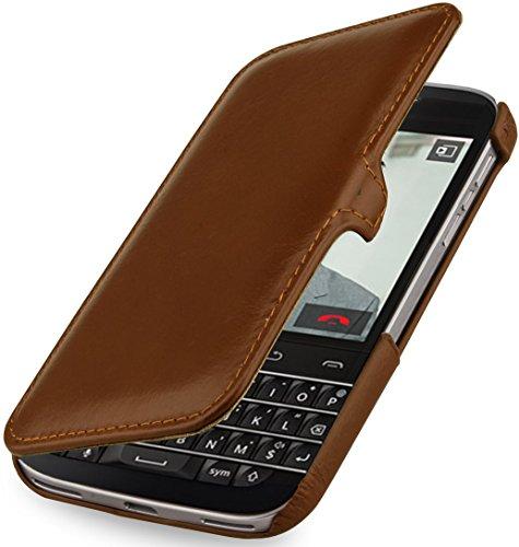 StilGut Book Type Case mit Clip, Hülle aus Leder mit On-/Off-Funktion für BlackBerry Classic Q20, Cognac