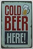 Tin Metal Sign Plaque Bar Pub Vintage Retro Wall Decor Poster Home Club Tavern Wall Door (30 x 20 cm) - UK Company (050 Cold Beer Here)