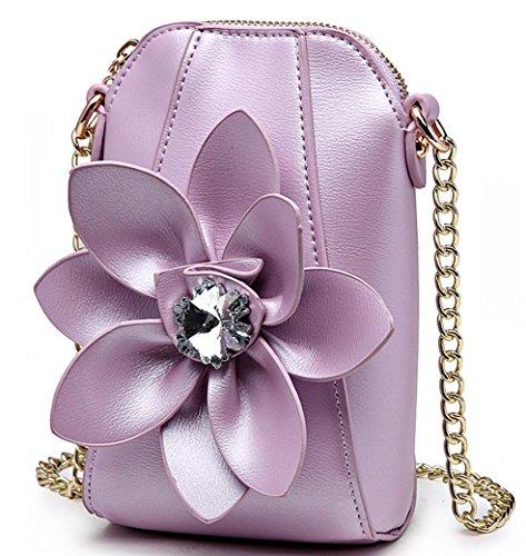 HYLM Damen Mini Taschen Handy Taschen Ketten Strass Blumen Schultertasche / Messenger Münze Geldbörse , purple (Bag Hobo Schulter Große)