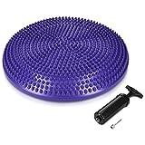Navaris disco de equilibrio con bomba de aire - Cojín de balance soporte para sentarse - Disco vestibular para entrenamiento en diferentes colores
