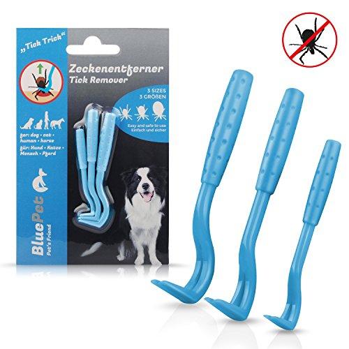 Bluepet *Tick-Trick * 3X Set Zeckenhaken Zeckenentferner | Sicherste Methode um Zecken zu entfernen | Für Jede Zeckengröße | Einfacher ALS Zeckenzange