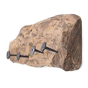DESIGN DELIGHTS WANDGARDEROBE TREIBHOLZ 50 | 50x12cm (LxH), Recyclingholz Vintage Garderobe mit 4 Kleiderhaken, rustikale Hakenleiste aus Holz für die Wand