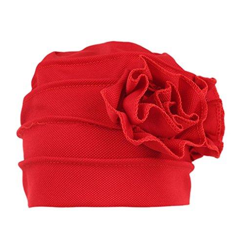 Damen Muslim Rüsche Mützen, zahuihuiM Herbst Winter Polyester Kopf Wrap Cap Chemotherapie Hut Beanie Schal Turban (Rot) (Beanie Babies Lamm)