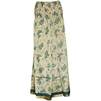 Mogul Interior Womens Maxi Skirts Beige Vintage Silk Sari Smocked Waist Divided Long Skirts