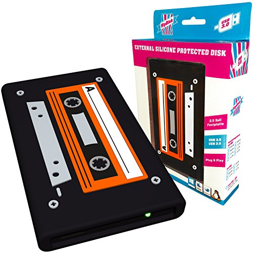 HipDisk externe Festplatte 2TB (6,4 cm (2,5 Zoll), USB 3.0) HD-LS132-2TB mit austauschbarer Silikon-Schutzhülle stoßfest wasserabweisend Old School