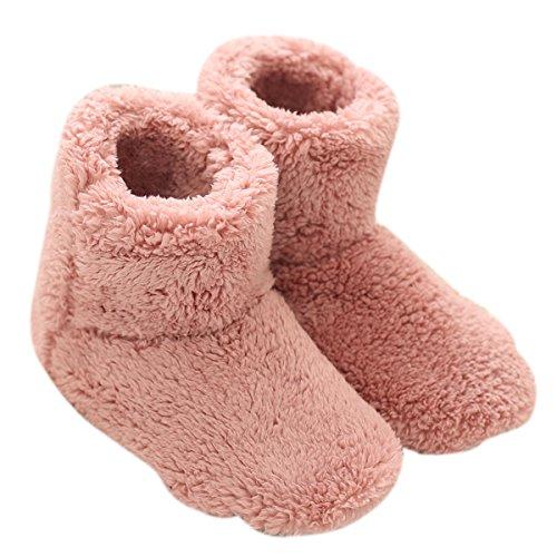 Mianshe, pantofole da donna in pelliccia, antiscivolo, stivali da uomo in cotone, unisex Pink