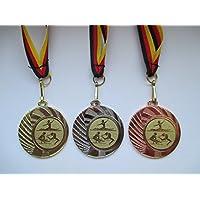 Pokale & Preise Bogenschießen Pokal Kids Medaillen 70mm 3er Set mit Deutschland-Band Emblem e103