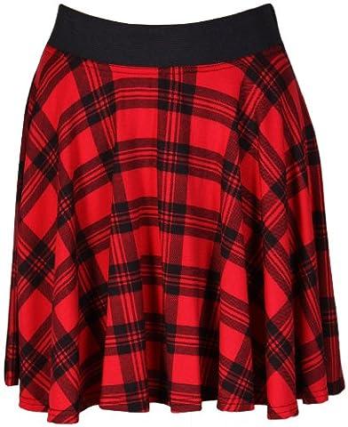 Womens Red And Black Check Tartan Printed Ladies Contrast Elastic