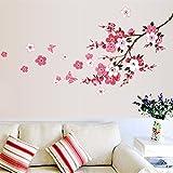 Qianxing abnehmbares wiederverwandbares schöne entspannte Landschaft Wandbild Wallsticker Blumen und Baum Serie Wandtattoo Aufkleber für Sofa und Fernsehen im Wohnzimmer Deko Wandpapier(Pfirsichblüte)(120*50)