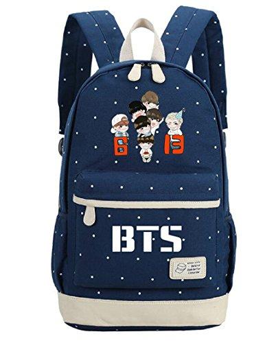 AUGYUESS Krop Bangtan Jungen BTS Schule Tasche Daypack Schultasche Laptop Tasche Handtasche Rucksack Dark Blue 6