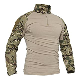 TACVASEN Camo T-Shirt Men Hunting Shirts Long Sleeve Camouflage Jacket Tactical Airsoft Tee Top