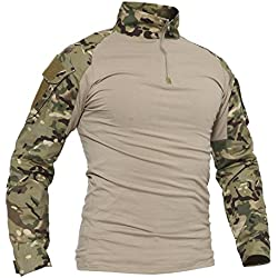TACVASEN Hombres Ejército Camisa Largo Militar Táctico Combate Camuflaje Camo Camisetas