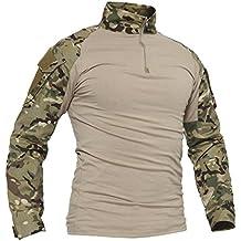 TACVASEN Uomo Esercito Camicia Lungo Militare Tattico Combattere Camuffare Camo Magliette