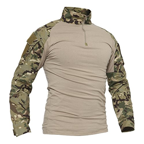 TACVASEN Camouflage Shirt Herren Hunting Jagd Taktisch Hemd Lange Ärmel Tactical Airsoft T-Shirt Long Sleeve Men's Camo Shirts CP Woodland (Combat Uniform Army Hemd)