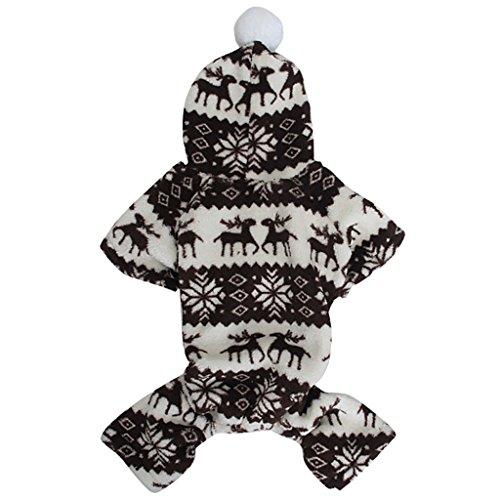Sweatshirt Mit Kapuze Hund Flauschigen Mantel Overall W / Rentier Und Schneeflocke – Größe Xs - 2