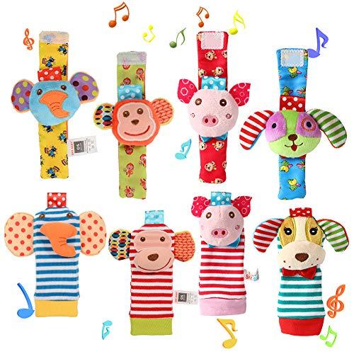 Twister.CK 8 Pack Baby Rassel, Baby Handgelenk Rasseln und Fu? Finder Socken Set, p?dagogische Entwicklung weiches Tier Spielzeug Dusche Geschenk mit Affen, Elefanten, Welpen und Piggy