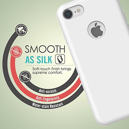 MoKo Hülle für iPhone 7 - Premium Ultra Slim Flexible Silikon Handy Schutzhülle Schale Phone Case Etui Bumper für Apple iPhone 7 4.7 Zoll Smartphone, Rosa sand Weiß