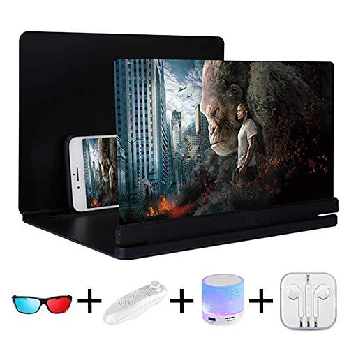 2019 Upgrade 3D Handy Lupe 14 Zoll HD Strahlenschutz Bildschirmlupe Für Telefon Faltbarer Halterstand Mobiltelefone Bildschirm Verstärker Ultra Dünner Wie Heimkino Anwendbar Alle 5\'\'-7\'\' Smartphones,F