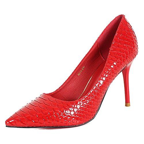 KHSKX-Bien Des Souliers À Talons L'Automne Une Nouvelle Vogue Et Chaussures Chaussures Fines Petite Bouche Rouge Unique Femmes gules