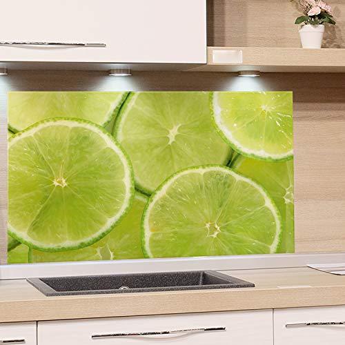 GRAZDesign Küchen-Spritzschutz Glas, Bild-Motiv Limette grün, Glasbild als Küchenrückwand - Küchenspiegel - Wandschutz Küche Herd / 100x60cm
