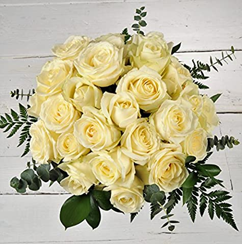 All White Premium Sweet Avalanche Rose Bouquet - Stunning Classic