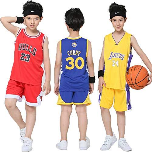 Hanbao Kinder Madchen NBA Bulls 23# Michael Jordan Retro Basketball Shorts Sommer Trikots Basketballuniform Top & Shorts Basketball Anzug (Michael Für Kinder Jordans)