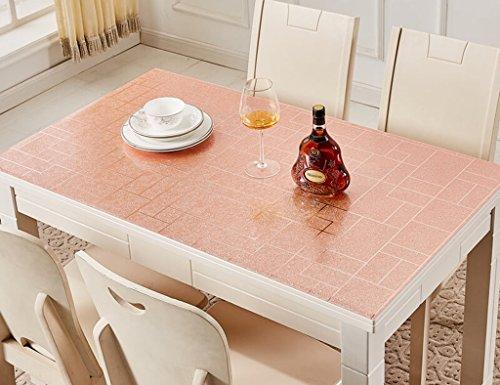 Nappes en Verre Souple en PVC Rectangle Table Table Mats Imperméable À l'eau en Plastique Anti-Hot-résistant À l'huile (1.0mm) (Couleur : Or Rose, Taille : 85 * 135cm)