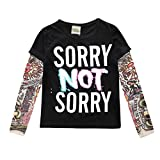 YiJee Kinder Langarm Tattoo Print T-Shirt Herbst und Winter Casual Tops L