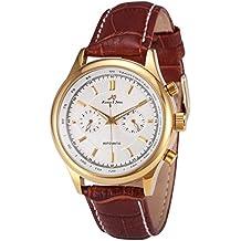 KS KS182 - Reloj para hombres, correa de cuero color marrón