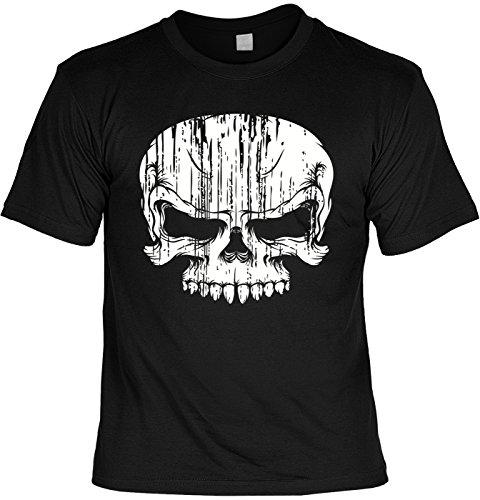 Biker-Shirt/Motiv-Shirt/Herren-Shirt/ lässige Motive/Totenkopf/Skull: Skull cooler Look/Motorradfahrer Schwarz