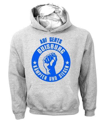 Artdiktat Herren Hoodie Auf geht´s Duisburg kämpfen und siegen, Größe M, grau
